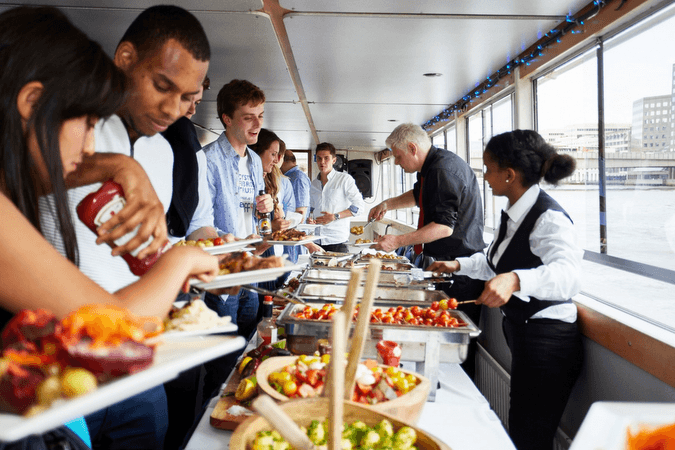 A-light-buffet-provided-during-the-london-boat-party